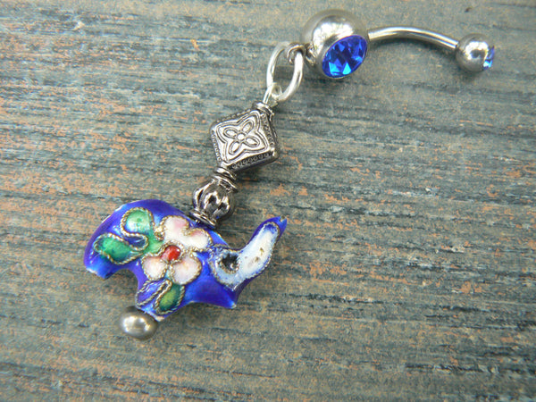 Lucky elephant belly ring DARK BLUE cloisonne sacred elephant belly dancer zen yoga boho hipster fantasy  tribal fusion style