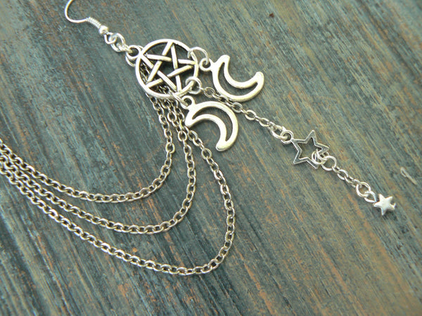 pentagram ear cuff pentacle  ONE earring cuff  Triple moon ear cuff  in fantasy boho Wicca wiccan witch magic hipster style