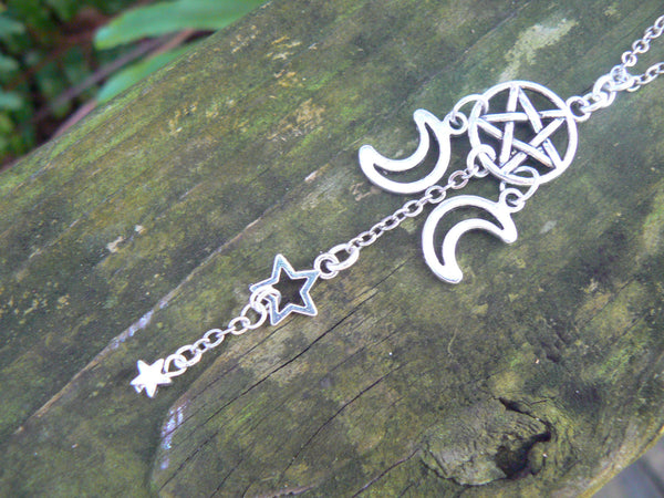 pentagram necklace Wiccan necklace pagan necklace pentacle necklace Triple moon necklace in goth fantasy Wicca  witch magic hipster style