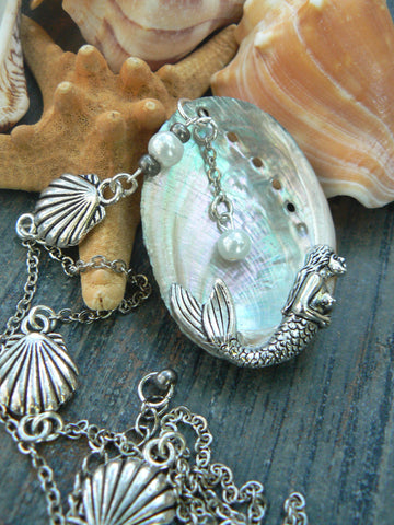 abalone shell mermaid  Statement necklace