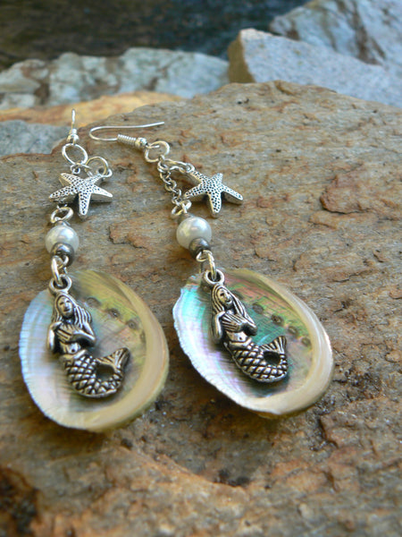 abalone shell mermaid earrings