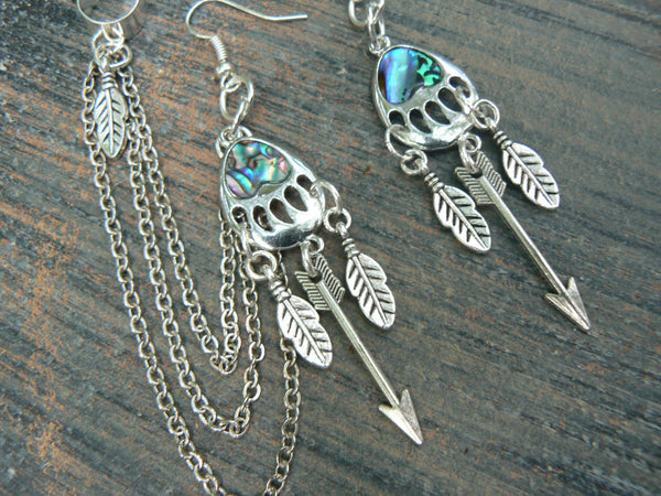 bear claw ear cuff arrow abalone ear cuff chained SET tribal inspired