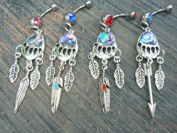 bear claw belly ring abalone arrow or feather dreamcatcher tribal inspired ONE