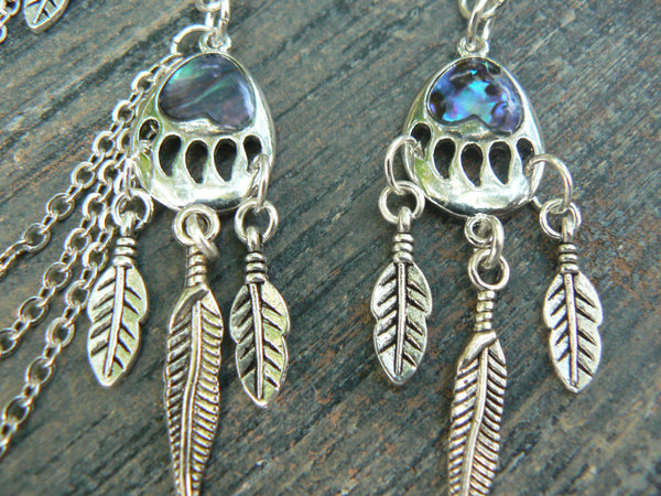 bear claw ear cuff silver feather ear cuff chained SET tribal inspired