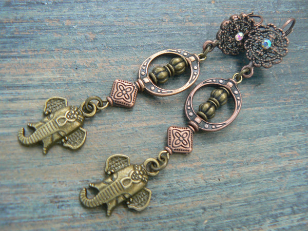 sacred elephant earrings Moroccan style earrings spiritual earrings ganesha earrings yoga buddha new age boho tribal beach hipster style