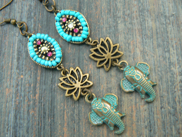 sacred elephant earrings Lotus Bali style earrings spiritual earrings ganesha earrings yoga buddha new age boho tribal beach hipster style