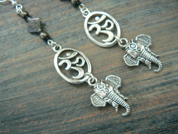 sacred elephant earrings ohm earrings spiritual earrings yoga  ohm om buddha new age boho tribal beach hipster style