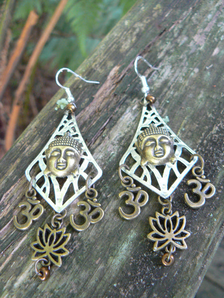 spiritual chandelier earrings Ohm earrings  Lotus flowers spiritual earrings earrings yoga buddha new age boho tribal beach hipster style