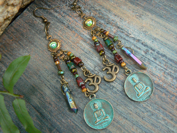 spiritual earrings zen earrings buddha earrings pendant earrings ohm earrings in yoga boho gypsy style