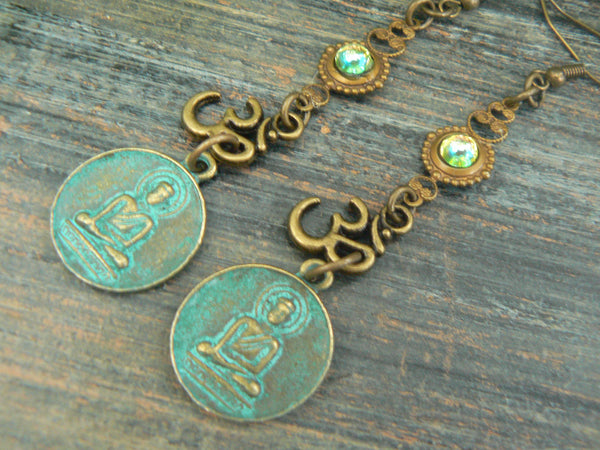 ohm buddha earrings spiritual earrings zen earrings buddha earrings pendant earrings ohm earrings in yoga boho gypsy style
