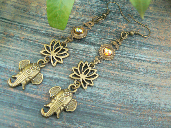 Ganesha earrings spiritual elephant earrings lotus flowers zen earrings  topaz   earrings
