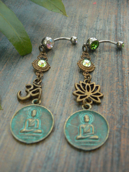 spiritual belly ring ,PICK ONE ,buddha ohm belly ring ,buddha lotus flower belly ring