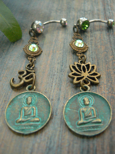 spiritual belly ring PICK ONE buddha belly ring  ohm belly ring lotus flower  buddha  in yoga boho gypsy belly dancer style