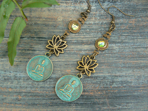 lotus flower buddha earrings spiritual earrings zen earrings buddha earrings pendant earrings ohm earrings in yoga boho gypsy style
