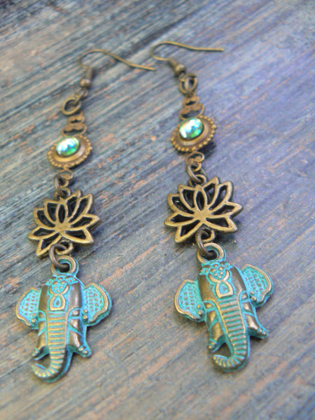 Ganesha earrings spiritual elephant earrings lotus flowers zen earrings in yoga boho gypsy style