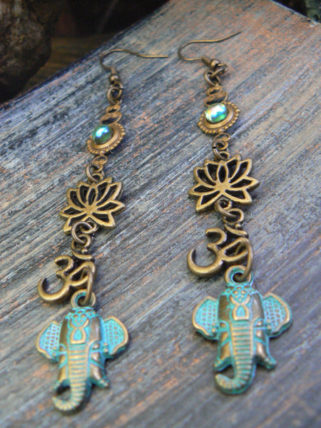 Ganesha earrings spiritual elephant lotus ohm earrings zen earrings buddha earrings