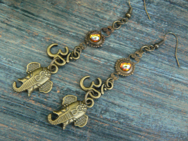 Ganesha earrings spiritual elephant earrings ohm zen earrings  topaz buddha earrings earrings in yoga boho gypsy style