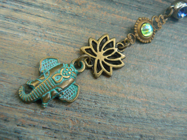 Ganesha  belly ring lotus flower belly ring  spiritual belly ring zen elephant yoga boho