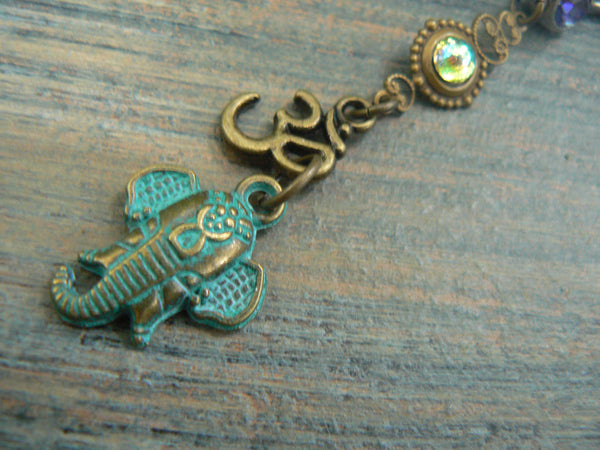 Ganesha  belly ring ohm belly ring  spiritual belly ring zen elephant  Peridot  yoga