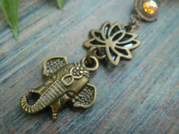 Ganesha belly ring  spiritual belly ring zen elephant lotus flowerTopaz in yoga boho gypsy belly dancer style