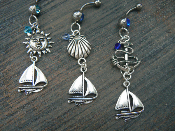 Pick one nautical  belly ring sailing sun anchor seashell summer beach vacation memories boho belly dancer  gypsy tribal  and hipster style