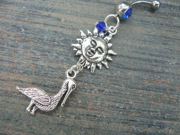 pelican  and sun belly ring  summer beach vacation memories  cruise wear bird  boho belly dancer gypsy and hipster style