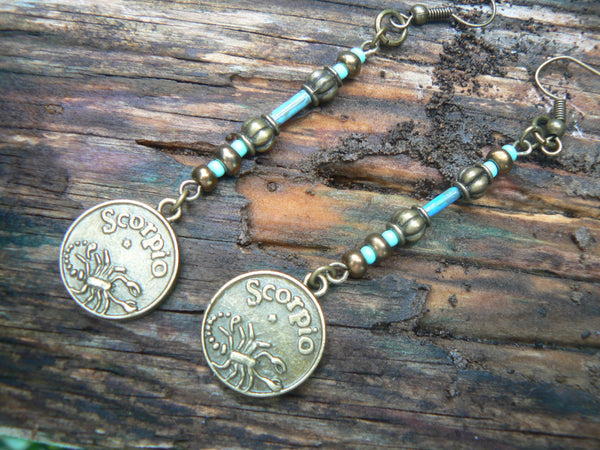 zodiac earrings whats your sign  zodiac sign charms PICK ONE in belly dancer fantasy gypsy hippie morrocan boho and hipster style