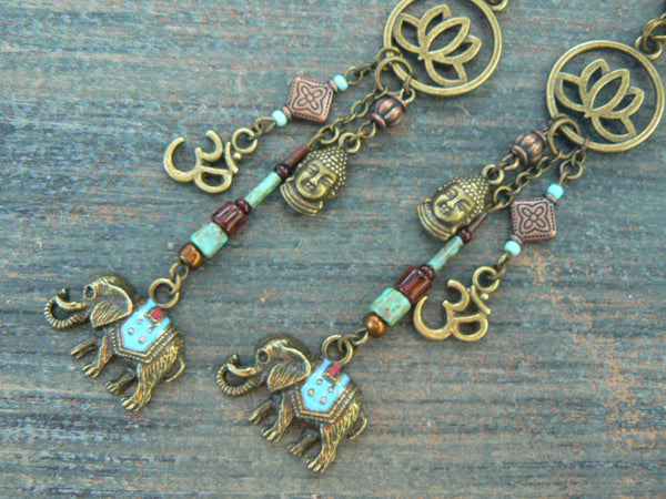 spiritual  ganesha earrings,  zen earrings, yoga earrings , elephant earrings