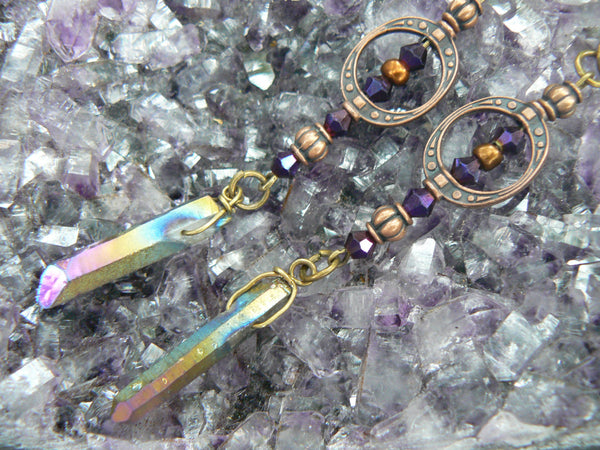 copper goddess earrings bohemian chic  quartz earrings  mystic crystal