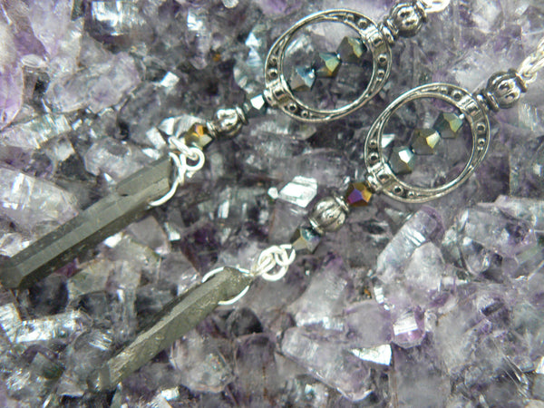 black crystal goddess earrings bohemian chic earrings quartz new age earrings