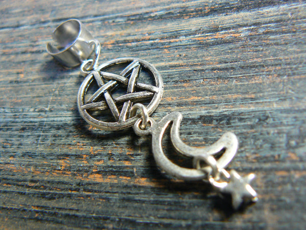 pentagram Wiccan cuff Wiccan ear cuff moon cuff witch cuff pentacle cuff goth cuff in fantasy boho Wicca wiccan witch magic hipster style