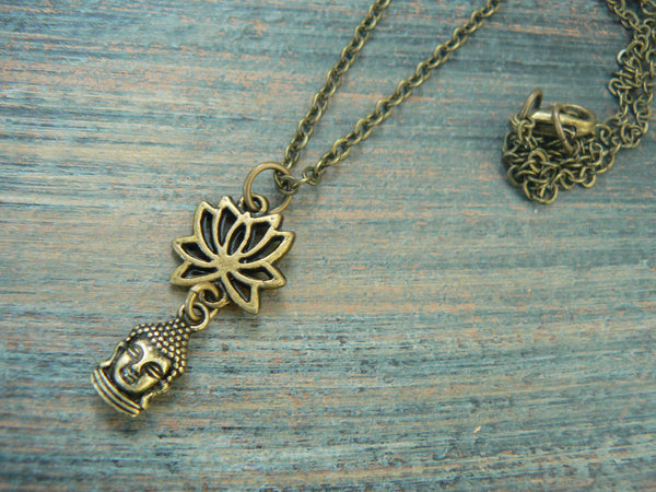 spiritual pendant necklace lotus flower necklace buddah necklace buddha  in yoga new age meditation zen hipster boho gypsy hippie style