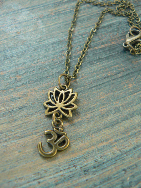 spiritual pendant necklace lotus flower necklace lotus  om necklace  in yoga new age meditation zen hipster boho gypsy hippie style
