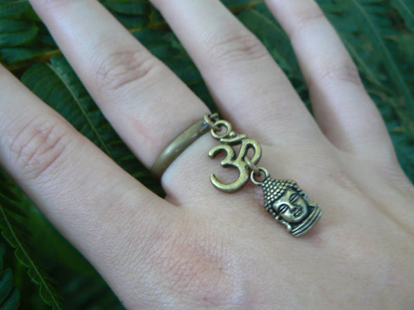buddha ring ohm brass ring  in yoga new age