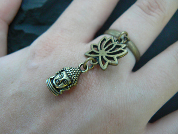 lotus flower ring brass Buddha ring lotus flower buddha ring in yoga new age meditation zen hipster boho gypsy hippie style