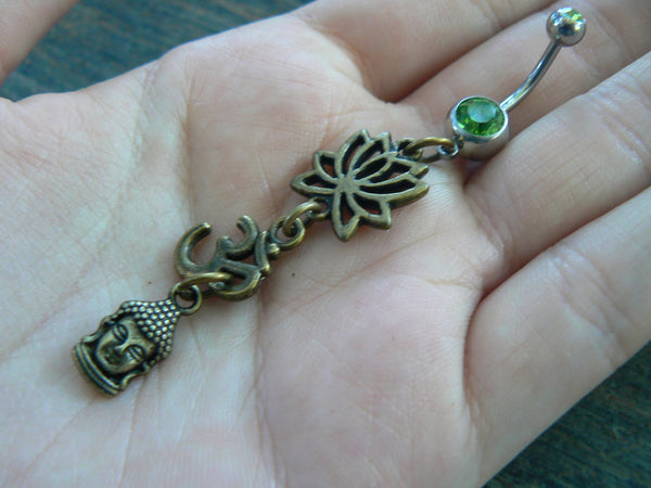 yoga belly ring om buddah  lotus flower meditation in zen yoga Indie new age boho gypsy hippie belly dancer beach and hipster style