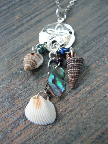mermaid necklace sand dollar necklace pendant necklace statement necklace abalone seashells in boho hipster  beach hipster and fantasy style