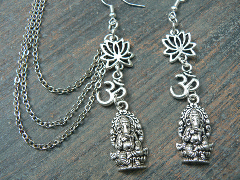 zen ear cuff set  Ganesha cuff set  spiritual chained cuff set   buddha cuff  set in yoga boho gypsy yoga  style