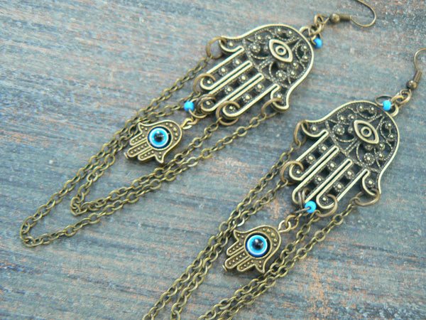 Hamsa earrings zen earrings spiritual earrings evil eye earrings tribal fusion Greek chandelier boho yoga earrings in yoga boho gypsy style