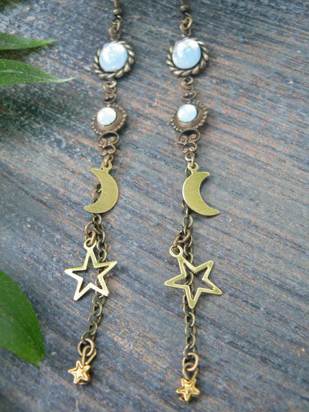 moon goddess earrings opal earrings galaxy earrings moons stars  spiritual earrings zen earrings  in yoga boho new age zen  gypsy style