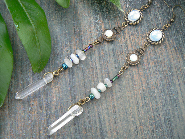 moonstone moon goddess earrings with glass white opals and quartz
