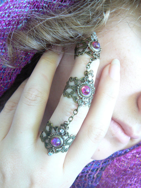 dragons breath ring armor ring statement ring claw ring opal steampunk ring knuckle ring
