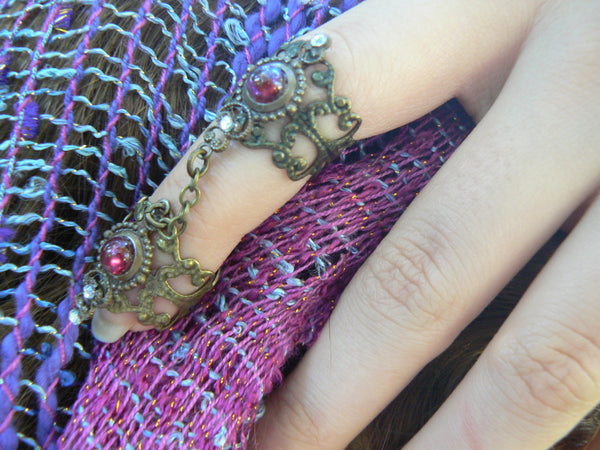 double armor ring dragon's breath ring dragons breath  nail ring  claw ring  Steampunk ring
