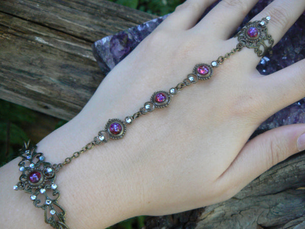Dragon's breath hand chain Mexican opal slave bracelet