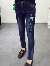 Casual Embroidery High Waist Pencil Jeans BisCloset