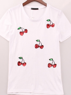 Casual Fashion Cherry sequined printing t-shirt - BisCloset