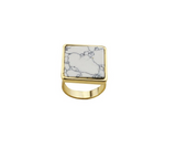 Fashion Square turquoise stone finger ring - BisCloset
