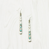 Silver antique turquoise bar dangle earring - BisCloset