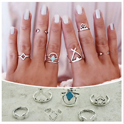Vintage Silver plated Fashion Women Arrow Ring Set - BisCloset