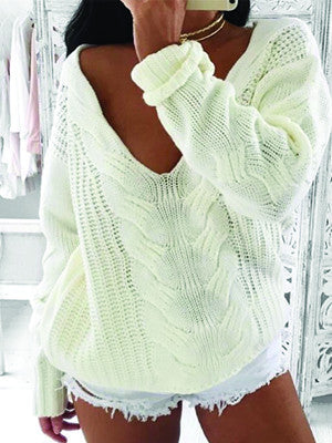 White Winter Short Knitted Sweater Women Pullover - BisCloset